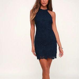 Lulu's Love Poem Navy Blue Lace Mini Dress XS